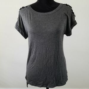 B2G1 NWOT Sweet Claire Charcoal Lace Up Sleeve Tee